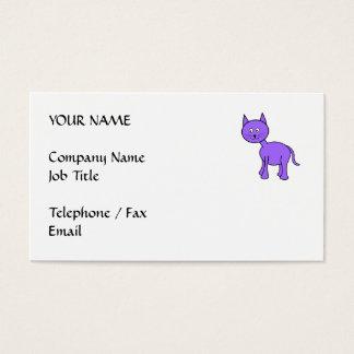 Cute Purple Cat Cartoon. Business Card