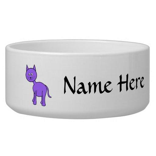 Cute Purple Cat Cartoon. Dog Water Bowl