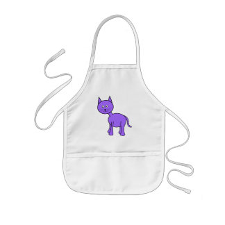 Cute Purple Cat Cartoon. Kids' Apron