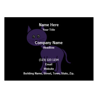 Cute Purple Cat. Cat Cartoon on Black. Large Business Cards (Pack Of 100)