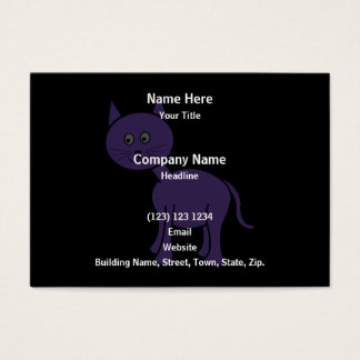 Cute Purple Cat. Cat Cartoon on Black. Business Card