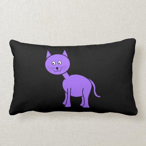 Cute Purple Cat. Cat Cartoon on Black. Throw Pillows