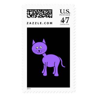 Cute Purple Cat. Cat Cartoon on Black. Postage
