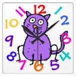 Cute Purple Cat Design Clock For Kids Room