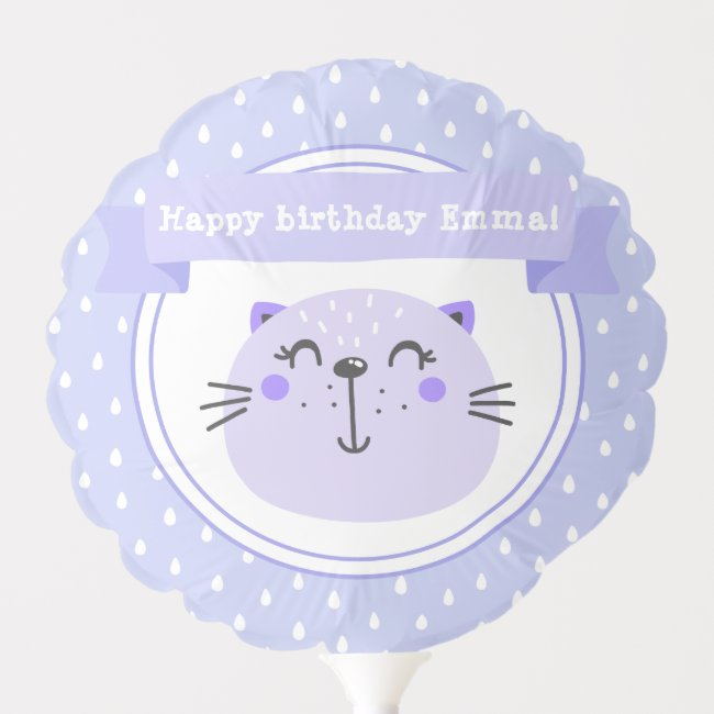 Cute Purple Cat & Lilac Stripes - Kids Birthday
