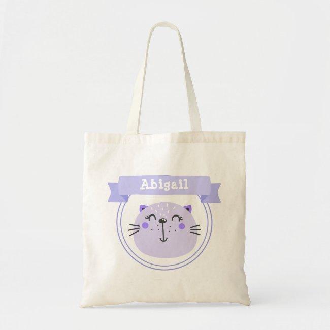 Cute Purple Cat   Personalized Kids / Girls