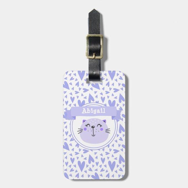 Cute Purple Cat | Personalized Lilac Hearts Kids