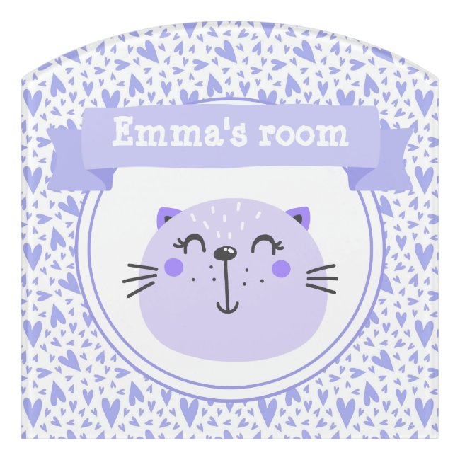 Cute Purple Cat | Personalized Lilac Hearts Kids