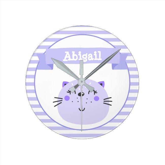 Cute Purple Cat | Personalized Nursery or Kids'