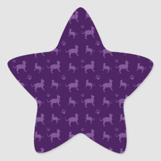 Cute purple cats and paws pattern star sticker