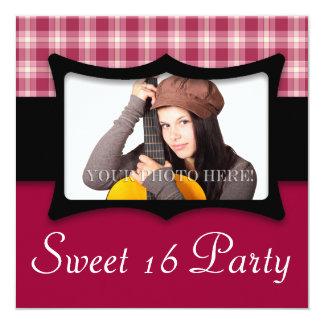 """Cute Purple Checkers Sweet 16 Photo 5.25"""" Square Invitation Card"""