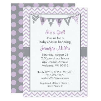 Cute Purple Chevron Baby Shower Card