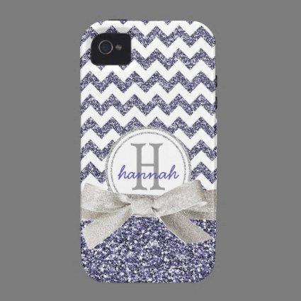 Cute Purple Chevron Monogram Faux Glitter Ribbon iPhone 4/4S Cover