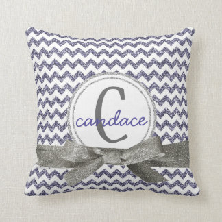 Cute Purple Chevron Pattern Monogram Glitter Look Throw Pillow