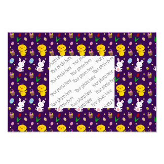 Cute purple chick bunny egg basket easter pattern photographic print