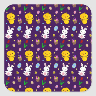 Cute purple chick bunny egg basket easter pattern square sticker