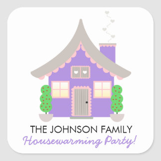 Cute Purple Cottage Housewarming Favor Stickers