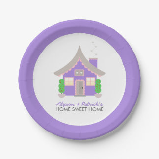 Cute Purple Cottage Housewarming Paper Plate