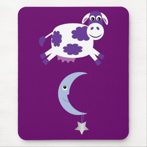 Cute Purple Cow Jumping Over The Moon Mousepad