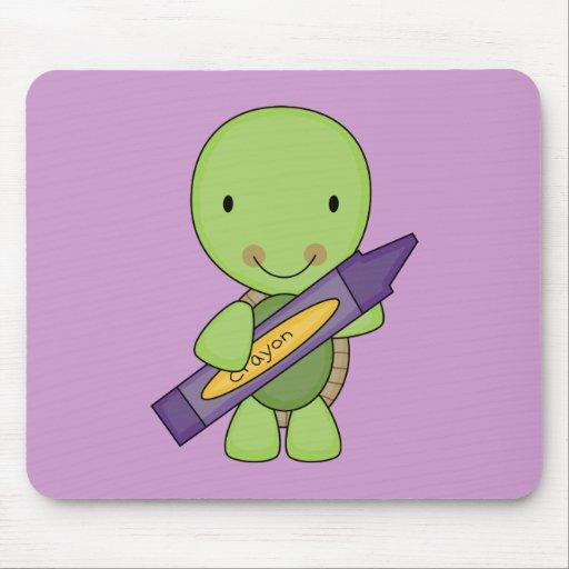 cute purple crayon turtle mouse pad