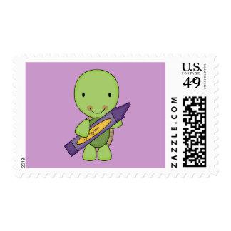 cute purple crayon turtle postage
