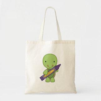 cute purple crayon turtle tote bag