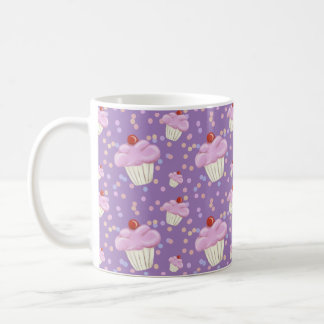Cute Purple Cupcake Pattern Coffee Mug