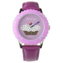 cute purple cupcake personalized design wrist watches