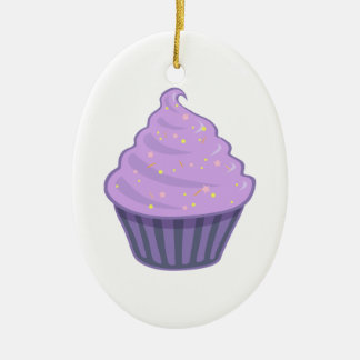 Cute Purple Cupcake Swirl Icing With Sprinkles Ceramic Ornament