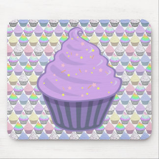 Cute Purple Cupcake Swirl Icing With Sprinkles Mouse Pad