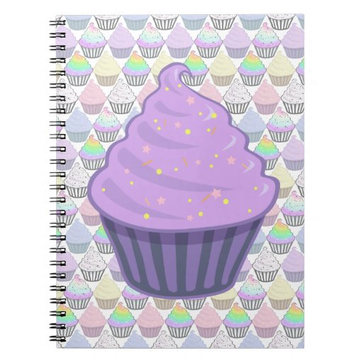 Cute Purple Cupcake Swirl Icing With Sprinkles Spiral Note Book