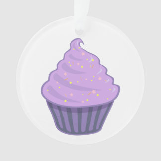 Cute Purple Cupcake Swirl Icing With Sprinkles Ornament