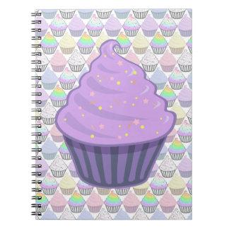 Cute Purple Cupcake Swirl Icing With Sprinkles Spiral Notebook