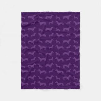 Cute purple dachshund pattern fleece blanket