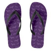 Cute purple dachshund pattern flip flops