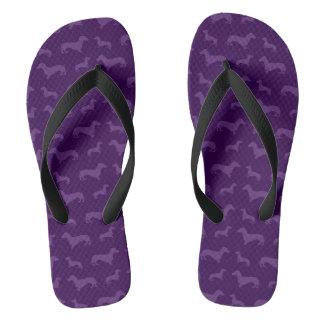 Cute purple dachshund pattern flip flops