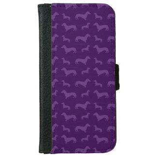 Cute purple dachshund pattern iPhone 6 wallet case