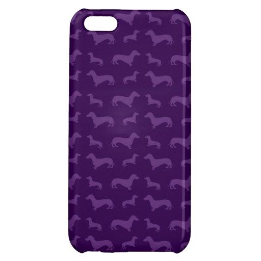 Cute purple dachshund pattern iPhone 5C covers