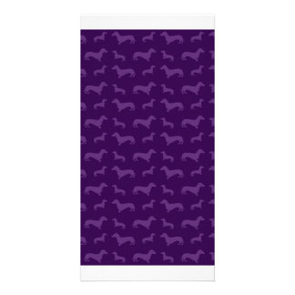 Cute purple dachshund pattern personalized photo card
