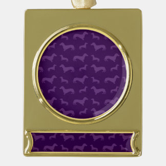 Cute purple dachshund pattern gold plated banner ornament