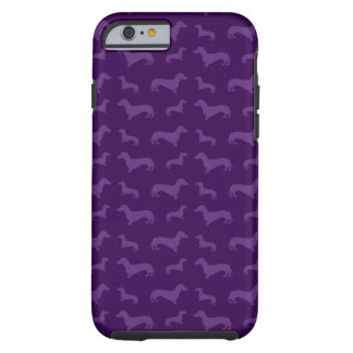 Cute purple dachshund pattern tough iPhone 6 case