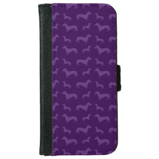 Cute purple dachshund pattern wallet phone case for iPhone 6/6s