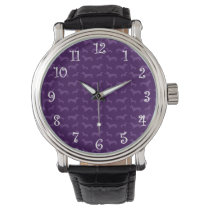 Cute purple dachshund pattern wrist watch