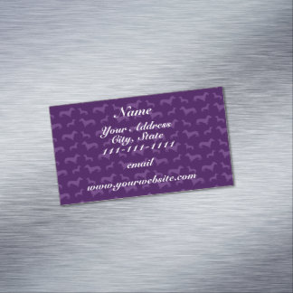 Cute purple dachshund pattern magnetic business cards (Pack of 25)