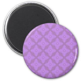 Cute Purple Damask 2 Inch Round Magnet