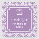 Cute Purple Damask Crib Baby Shower Square Sticker