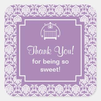 Cute Purple Damask Crib Baby Shower Square Sticker