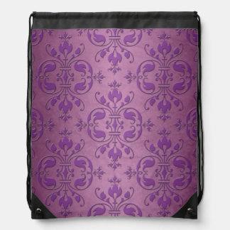 Cute Purple Damask Style Pattern Drawstring Backpack
