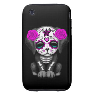 Cute Purple Day of the Dead Puppy Dog Black iPhone 3 Tough Cases