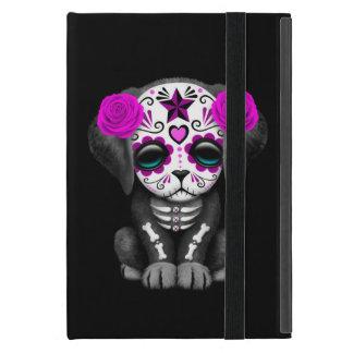 Cute Purple Day of the Dead Puppy Dog Black iPad Mini Cover